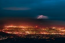 Free Aerial Photography Of Urban City Overlooking Lightning During Nighttime Royalty Free Stock Photo - 109913545