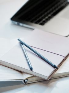 Free Two Blue Pencil On Top Of White Notebook Royalty Free Stock Image - 109913756