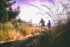 Free Two Bikers On Bush-lined Path Royalty Free Stock Photos - 109914078