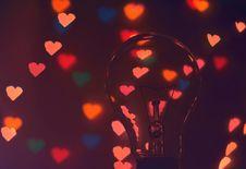 Free Photo Of Illuminated Hearts Around The Light Bulb Stock Photography - 109914392