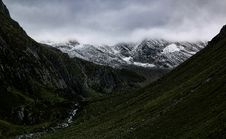 Free Mountain Valley Under Cloudy Sky Stock Image - 109914451