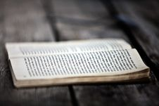 Free Opened Book On Wooden Board Stock Image - 109914781