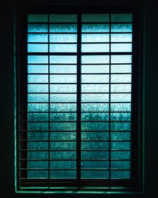 Free Closed Black Metal-framed Frosted Glass Windowpane Royalty Free Stock Image - 109915046
