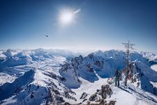 Free Person On Top Of Snow Covered Mountain Under Clear Blue Sky Stock Images - 109915094