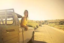 Free Woman Wearing Yellow Shirt Inside Pickup Truck Royalty Free Stock Photo - 109915365