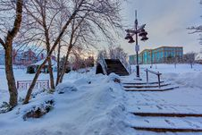 Free Bridge Near Light Post With Snow And Building At Distance Stock Image - 109915481