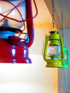 Free Three Red, Yellow, And Green Gas Lantern Hanging On Ceiling Royalty Free Stock Images - 109915529