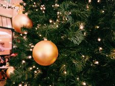 Free Green Christmas Tree With Three Round Gold Ornaments Stock Image - 109915711