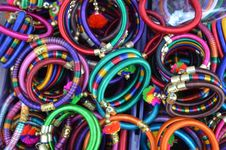 Free Pile Of Women S Assorted Colored Bangles Stock Photography - 109916092