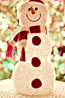 Free Red And White Snowman Standee Decor Stock Photo - 109916350