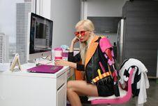 Free Woman Wearing Black And Orange Leather Jacket Royalty Free Stock Photos - 109916538
