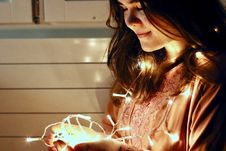 Free Woman Holding Lighted String Light Royalty Free Stock Images - 109916609