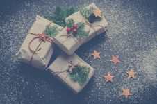 Free Four Christmas-themed Boxes Royalty Free Stock Images - 109916689