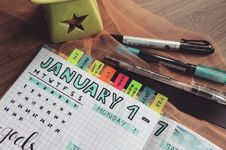 Free Photo Of Planner And Writing Materials Stock Image - 109917151
