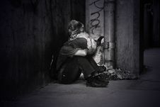 Free Monochrome Photo Of A Homeless Man Royalty Free Stock Image - 109917286
