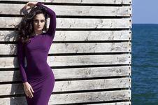 Free Woman In Purple Long Sleeve Dress Standing Beside White Wooden Wall Stock Image - 109917371