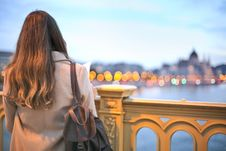 Free Woman Wearing Trench Coat And Black Leather Backpack Royalty Free Stock Photos - 109917818