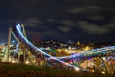 Free Time-lapse Photography Of Roller Coaster During Night Time Stock Photo - 109918380