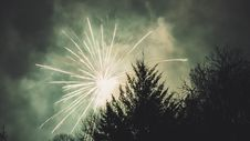 Free Fireworks Display Above Trees Stock Photography - 109918582