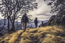 Free Three People Hiking On High Mountain Royalty Free Stock Photo - 109919095