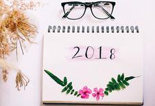 Free White 2018 Spiral Calendar Royalty Free Stock Photos - 109919778