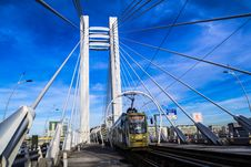 Free Bridge With Train Under Blue Sky Stock Image - 109919881