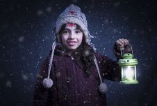 Free Girl Holding Green Lantern Lamp Stock Photography - 109920772