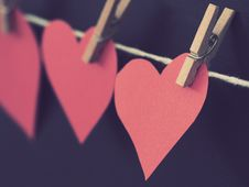 Free Photo Of Red Heart-shaped Paper Hanging On Rope Stock Images - 109920944