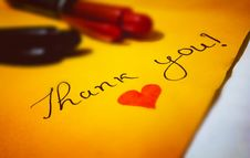 Free Thank You! Heart Text Royalty Free Stock Photo - 109921345