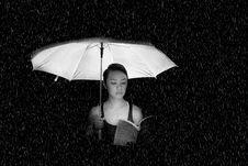 Free Woman Holding An Umbrella Greyscale Photo Stock Photo - 109921530