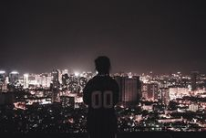 Free Photo Of A Person Watching Over City Lights During Night Time Stock Image - 109921551