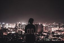 Free Photo Of A Person Watching Over City Lights During Night Time Royalty Free Stock Photography - 109921797