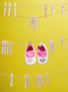 Free Baby S White-and-pink Polka-dot Shoes Royalty Free Stock Photos - 109921998