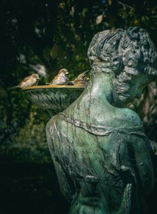 Free Woman Statue With Bird Bath Royalty Free Stock Image - 109922236