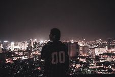 Free Photography Of A Person Watching Over City Lights During Night Time Royalty Free Stock Image - 109922606