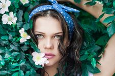 Free Portrait Photo Of Woman In White Top And Blue Polka Dot Headband Near Flowers Royalty Free Stock Images - 109922689