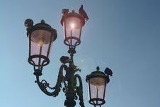 Free Black 3-light Post Lamp Under Blue Sky Stock Images - 109922944