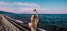 Free Woman In Blue Bikini Standing Beside Shore Royalty Free Stock Image - 109923446