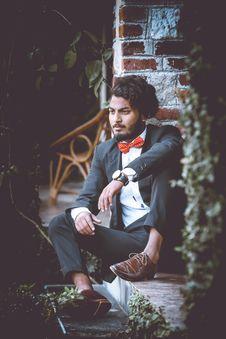 Free Man Wearing Black Formal Suit Jacket And Black Dress Pants Stock Photos - 109923873