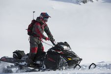 Free Person Riding On Snowmobile Stock Images - 109923974