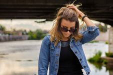 Free Close Up Photo Of Woman Wearing Black Top And Blue Denim Button-up Jacket Royalty Free Stock Photography - 109924257