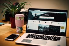 Free Photo Of A Gray Dell Laptop Displaying Pexels Webpage Stock Photography - 109924442