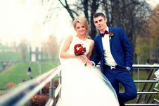 Free Newly Wed Couple Standing Beside Railing Near Bare Tree Stock Photos - 109924563