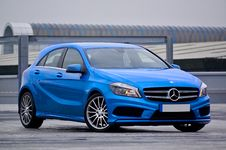 Free Photography Of A Blue Mercedes-benz 5-door Hatchback Stock Image - 109924591