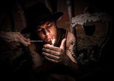 Free Man Lighting Cigarette Stock Image - 109924631