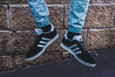 Free Photography Of A Person Wearing Adidas Gazelle Royalty Free Stock Photos - 109924738