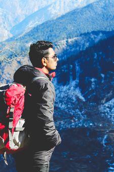 Free Man In Black Jacket Taking Selfie On Top Of Mountain Stock Image - 109924741