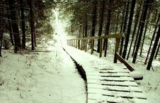 Free Brown Wooden Stairs Covered With Snow Royalty Free Stock Images - 109925189