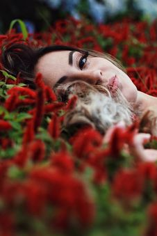 Free Photography Of A Woman Lying On Flowers Royalty Free Stock Image - 109925286