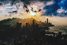 Free Bird S Eye View Of City Near Ocean During Sunset Royalty Free Stock Photos - 109925688